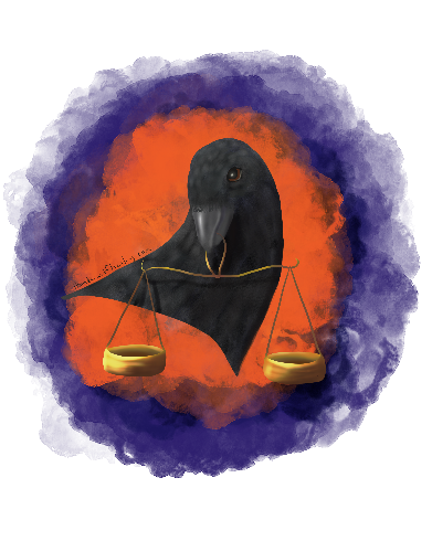 Raven with Justice Scales